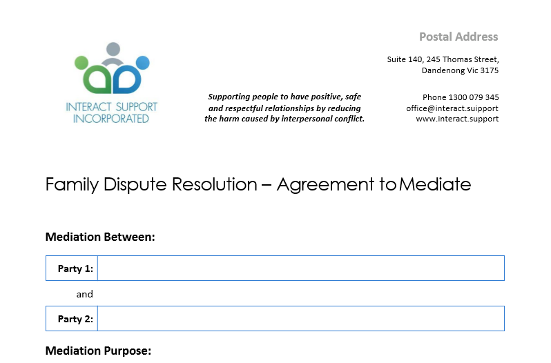 Agreement to Mediate